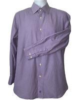 DAVID DONAHUE Trim Fit Purple White Check Cotton Dress Shirt Sz 16 32/33