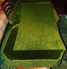 Antique vintage heavy fringed velvet chenille? TABLE CLOTH deep forest green lge