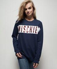 ZOE KARSSEN Mischief blue sequin embellished slogan sweatshirt jumper sweat top