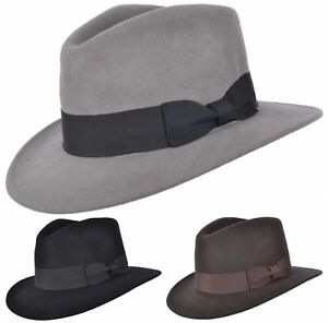Mens or Womens 100% Wool Fedora Hat with Grosgrain Band Trilby Panama Type Hats