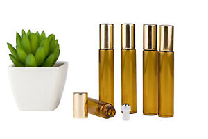 10ml Roller Ball Amber Glass Bottles S/Steel Roller Essential Oil 5 pieces