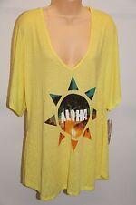NWT Miken Swim Swimsuit Bikini Cover Up Dress Tunic Size XS Ginger Aloha Yellow