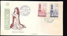 FDC VENETIA - ITALIA REPUBBLICA - 1958 - LOURDES - RARA VARIETA' SENZA LOGO