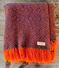 Vintage Pendleton Wool Throw - Orange and Blue Diamond Pattern