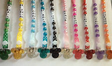 Crystal Rhinestone Minnie Mouse Dummy Soother Strap Clip ~ NEW ~ Personalised ~