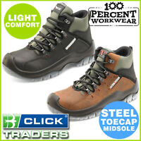 Hard Wearing Lightweight Water Resistant Extra Grip Work Safety Boots Steel Toe