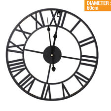More details for 60cm round extra large roman numerals skeleton wall clock big giant open face to