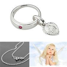 Mädchen Rubin Herz Schutz Engel Taufring Silber 925 rhodiniert mit 38 cm Kette