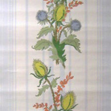 1950s ORIGINAL Stunning Light Blue Stripe & Floral Wallpaper 1940s Kitsch