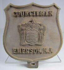 Old Brass COUNCILMAN EMERSON NJ Plaque embossed lrg badge design New Jersey