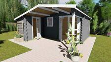 Gartenhaus aus Holz 40mm mit Vordach Blockhaus Holzhaus Norwegen 5 2 Raum