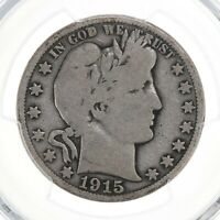 1915 Barber 50C PCGS Certified VG08 Very Good Graded Silver Half Dollar Coin