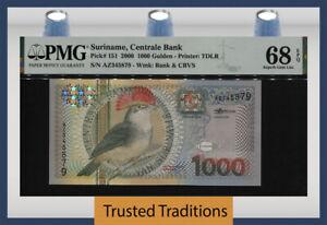 TT PK 151 2000 SURINAME CENTRALE BANK 1000 GULDEN BIRD PMG 68 EPQ TIED AS BEST!