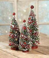 Bethany Lowe Primitive 3pc Bottle Brush Christmas Trees AUTHORIZED DEALER