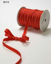 MAY ARTS RIBBONS~GROSGRAIN WITH STITCHED EDGE~RED & WHITE~3/8 INCH X 3 YARDS!
