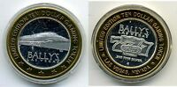 Bally's Ten Dollar $10 Gaming Token .999 pure silver w/gold tone edging MONORAIL
