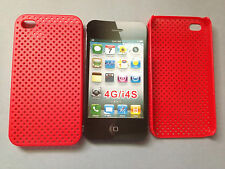 RIGID PLASTIC BACK CASE COVER FOR APPLE iPHONE 4 4S - PERFORATED RED MESH DESIGN