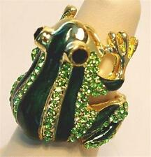 Frog Stretch Cocktail Ring Green Crystals Gold Tone Metal