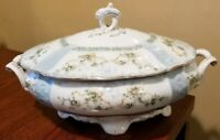 HERMANN OHME - Gold Trim FOOTED  SOUP TUREEN w/ LID  Light Blue w/ Flowers 1890?