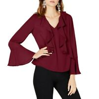 INC NEW Women's Ruffled Bell Sleeve V Neck Blouse Shirt Top TEDO