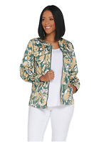 Denim & Co. Watercolor Print Stretch Twill Zip Front Jacket Olive Multi Size M
