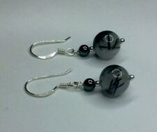 earrings   -   TOURMALINATED QUARTZ + HEMATITE  -   SOLID 925 STERLING SILVER