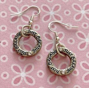 Brighton ART & SOUL Just Breathe Hoop Crystals Sayings Silver Custom Earrings