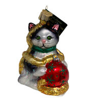 NWT Merck Family Old World Christmas Glass Ornament Holiday Kitten NEW 2006