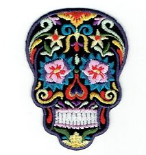 Black Sugar Skull Pink Eyes Day of the Dead (Iron On Embroidered Applique Patch)