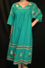 L~XL Green Woven Ethnic Print Guatemala Cotton Vtg 80s Boho Caftan Tunic Dress
