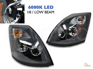 Black 6000K LED Headlights Head Lamps For 04-17 Volvo VNX VNL RH+LH