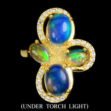 Cz 925 Sterling Silver Ring Size 7 Unheated Oval Fire Opal Rainbow Full Flash