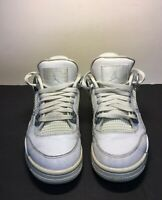 "Air Jordan 4 Retro GS Size 4.5Y ""Pure Money"" White Metallic Silver"