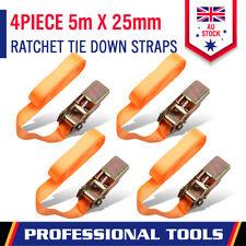 4-Piece Ratchet Tie Down Straps 25mm x5m Retractable Heavy Duty Cargo Trailer