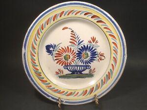 """Antique HenRiot Quimper Floral 'A La Touche"""" Plate c.1922+"""
