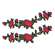 Lot 2 Pcs Red Rose Flower Embroidery Applique Patch