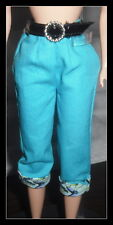 PANTS BARBIE DOLL COOL COLLECTING BLUE ROLLED PRINT CUFFED CAPRIS BOTTOM PANTS