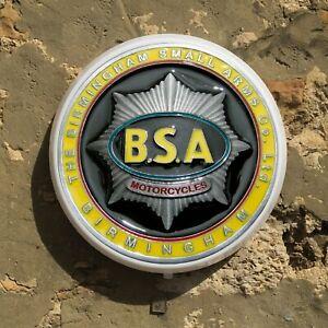 BSA MOTORCYCLE BADGE LED LIGHT SIGN LOGO GARAGE VINTAGE AUTOMOBILIA BANTAM