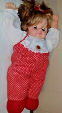 """1974 EEGEE 18"""" Pull String Talking Doll Cloth Body Vinyl Head Red/White Outfit"""