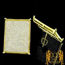 Men XL Flat Screen White on Yellow Gold Finish .925 Diamond 1Cart Stud Earrings
