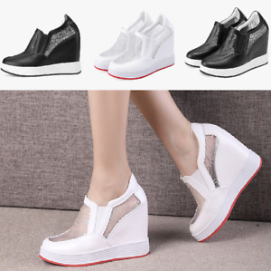 Womens Round Toe Wedge High heel Shoes Hollow Hidden Floral Elastic Sneakers New