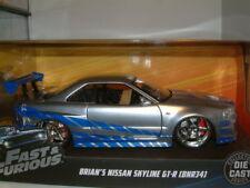 "1/24  NISSAN R34 GT-R ""BRIAN`S"" SILVER & BLUE  FAST & FURIOUS , JADA,"
