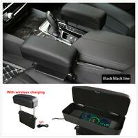 Universal Car Seat Gap Install Armrest Storage Box w/Wireless Charging Function