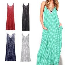 Summer Women Casual Sleeveless Loose SUNDRESS Polka-dot Maxi Straps Long Dress