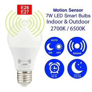 Motion Sensor 7W LED Smart Bulbs 2700K/6500K Auto On/Off Dusk to Dawn 1 - 10 pcs