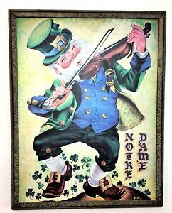 Vtg 1960's University of Notre Dame Football Irish Leprechaun Framed Art Print