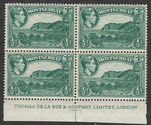 Montserrat 1938-48 ½d Blue-green in Imprint block SG 101 Mint.