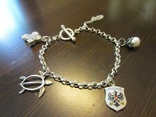 925 Italy Sterling Silver Signed VTG Chain Bracelet 7 IN w/5 Silver Charms 12G