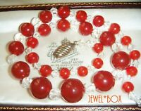 VINTAGE ART DECO CZECH CARNELIAN Glass Crystal Graduated Beads NECKLACE