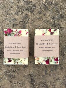 Natural Rustic Rose Geranium Handmade Soap Bar Vegan Cruelty Free